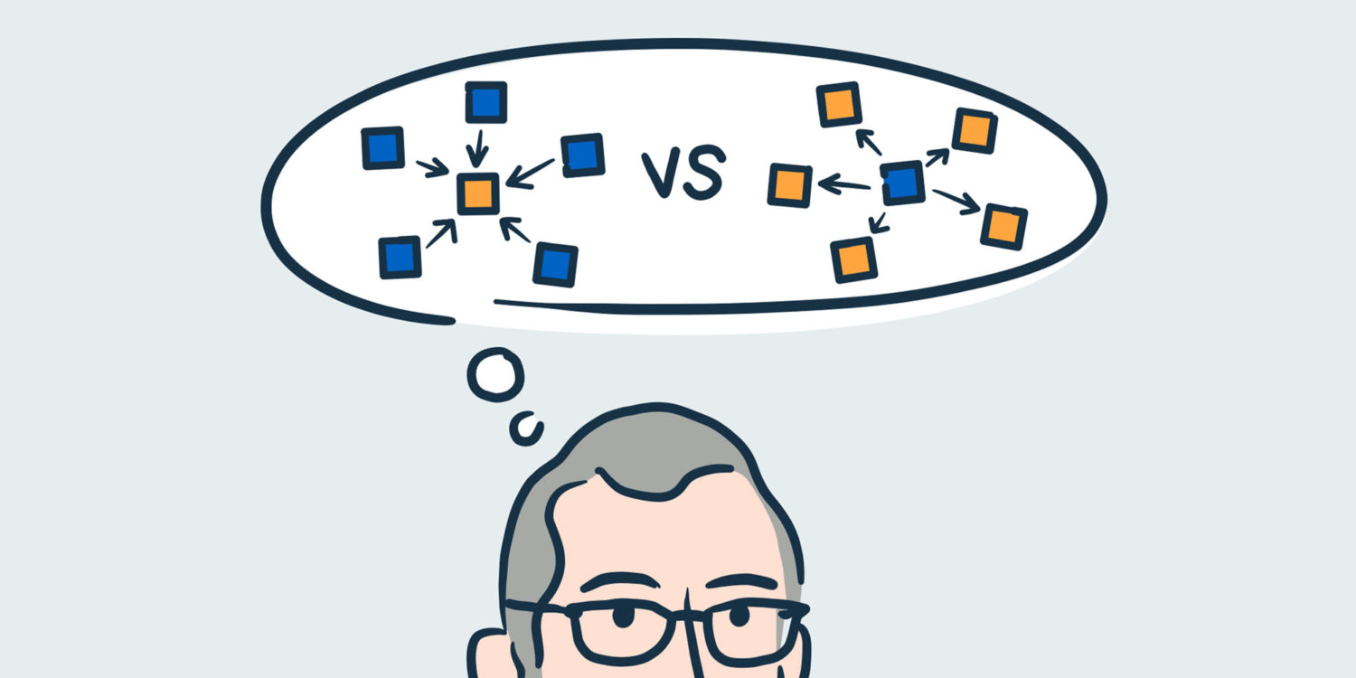 person with thought bubble above head showing divergent vs convergent thinking