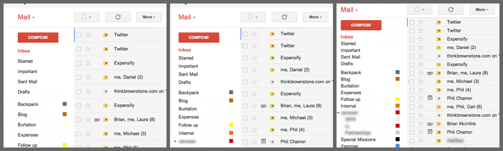 Examples of Gmail's Readability Options