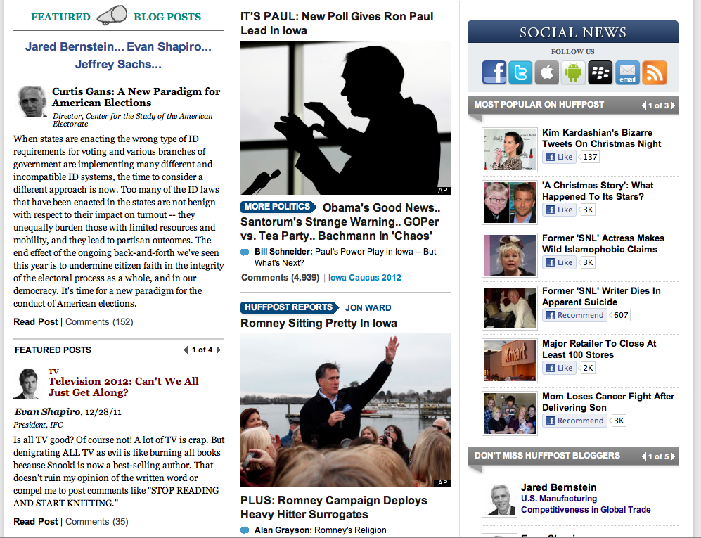 Huffington Post's jam-packed home page