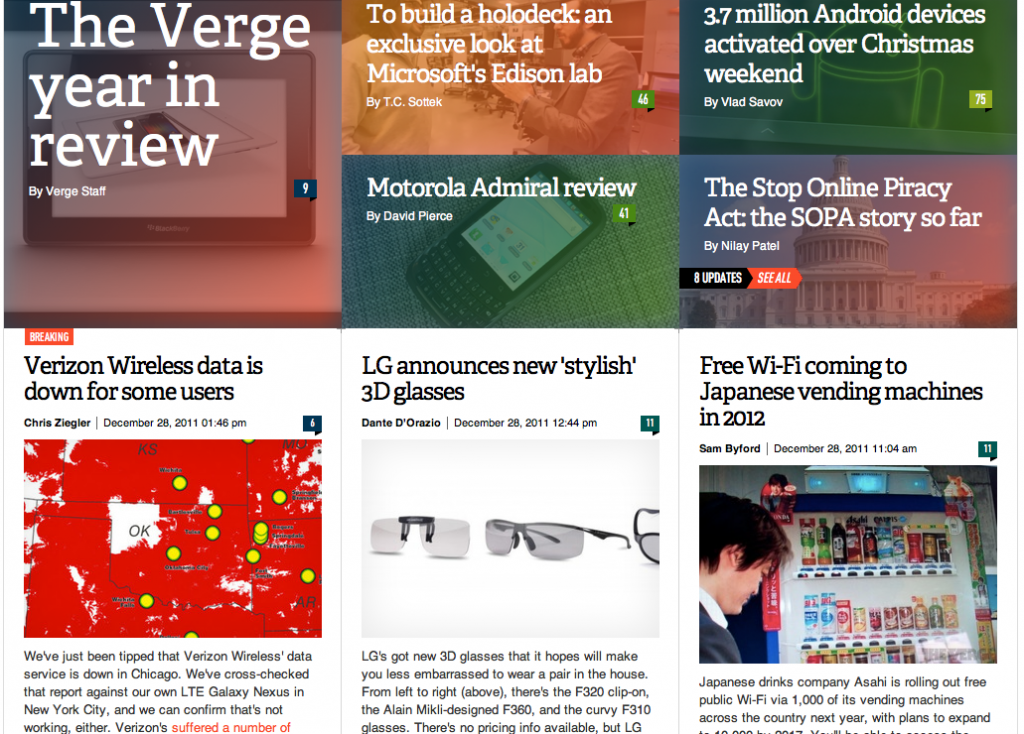 The Verge's home page