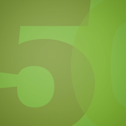graphic showing number five in green
