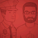 illustration of police officer and man with beard