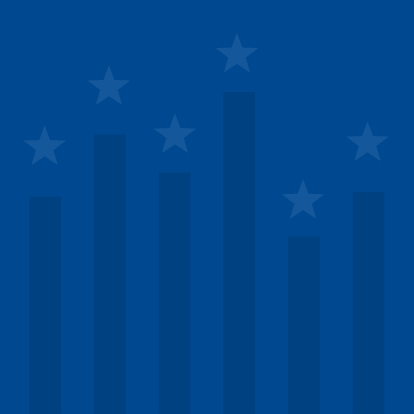 A bar graph stylized to look like an American flag