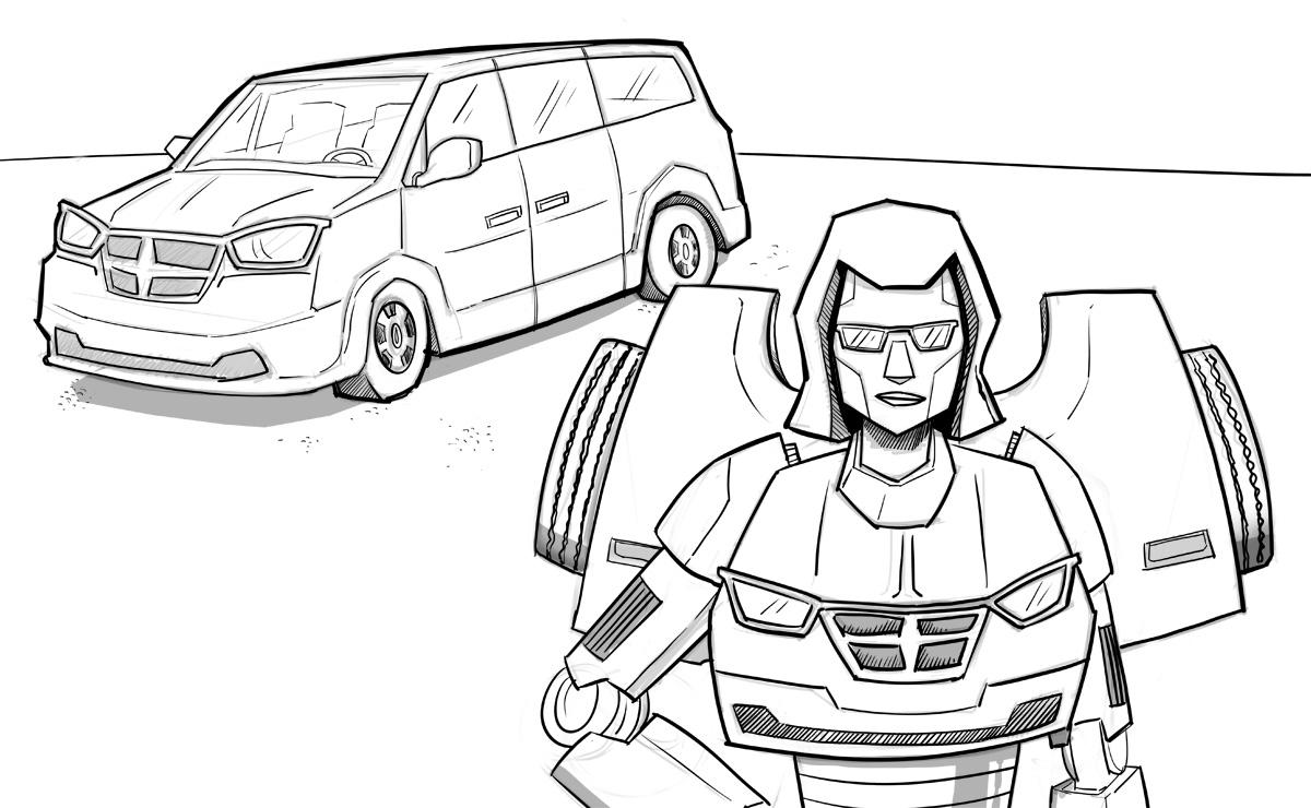 Minivan transforms into a robot