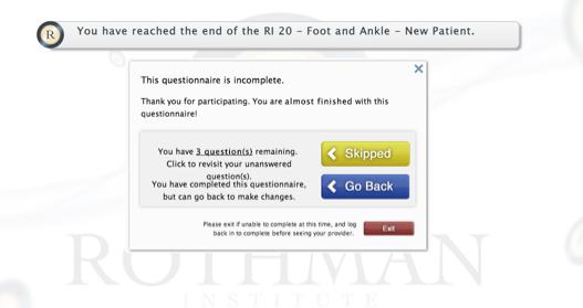Incomplete Questionnaire