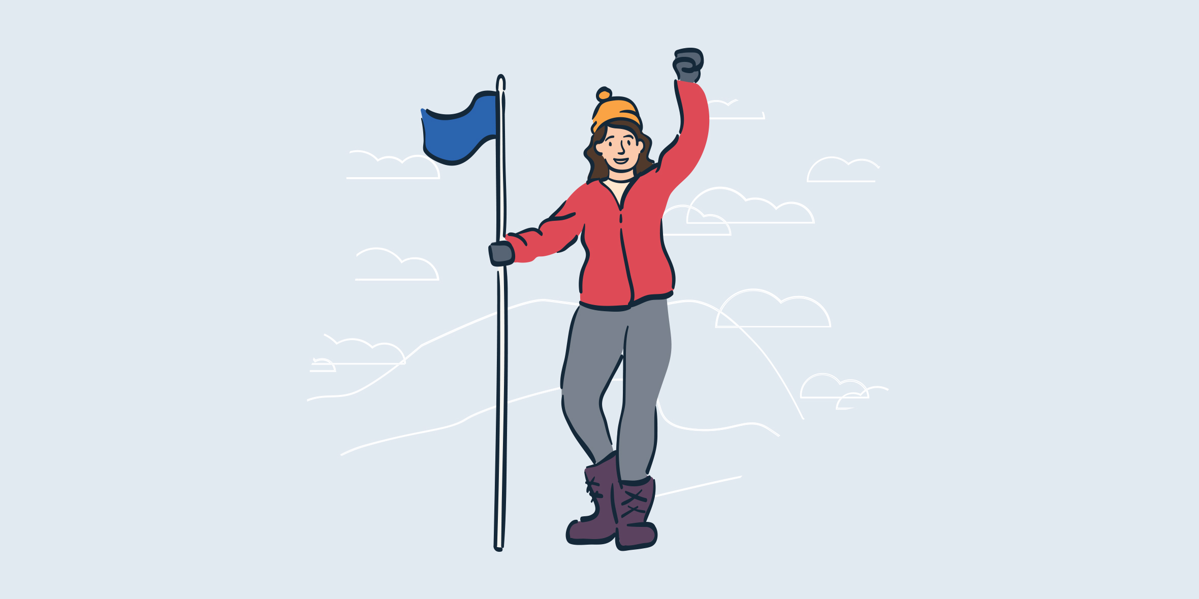 illustration of woman holding flag with hand raised