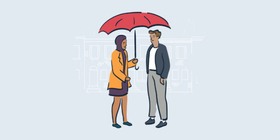 illustration of woman holding umbrella over man