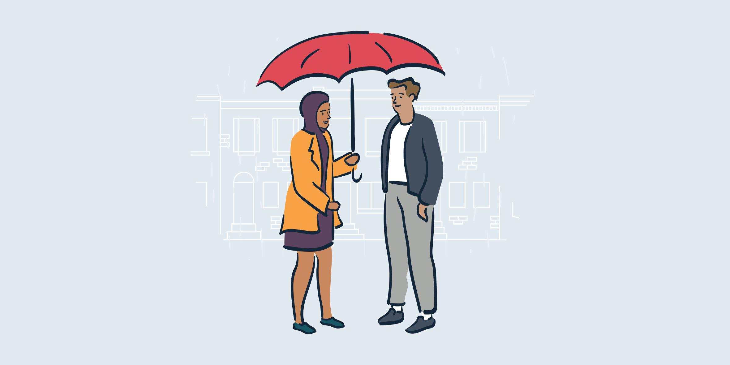 illustration of woman holding umbrella over man