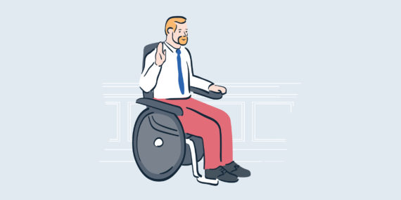 illustration of man in wheelchair raising right hand