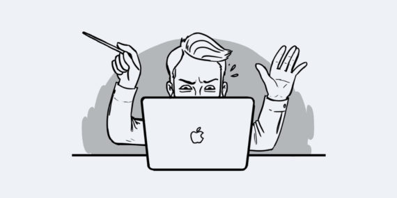 illustration of orchestral conductor behind laptop