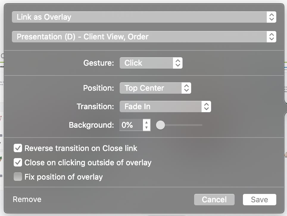 Screenshot of menu items in overlays feature