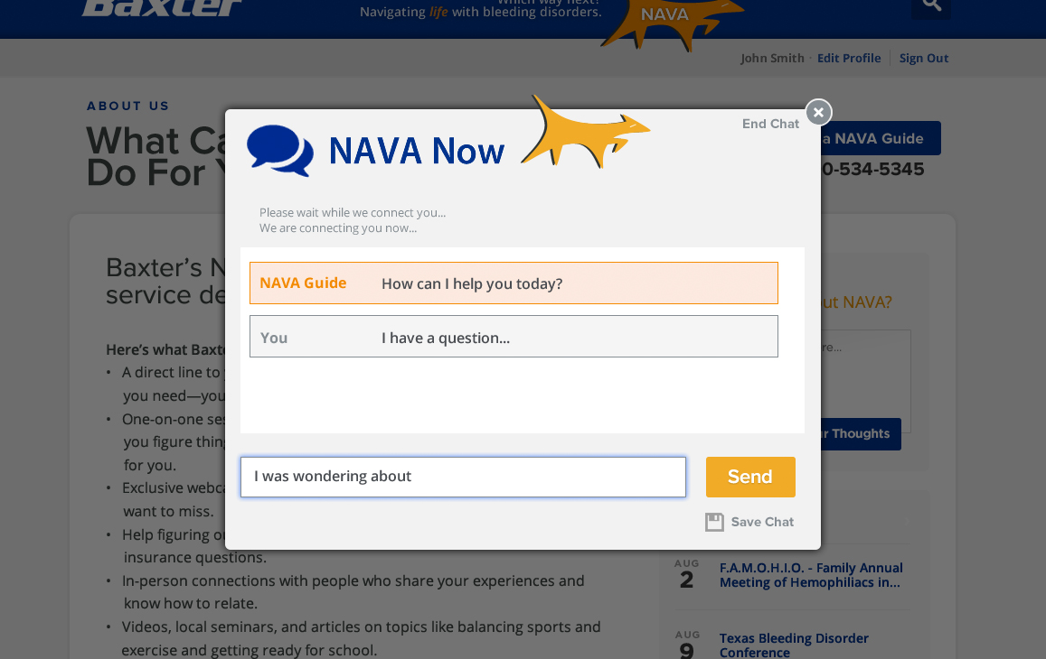 NAVA Now chat modal