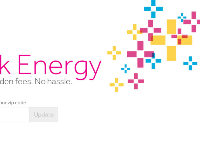 screenshot of energy company website