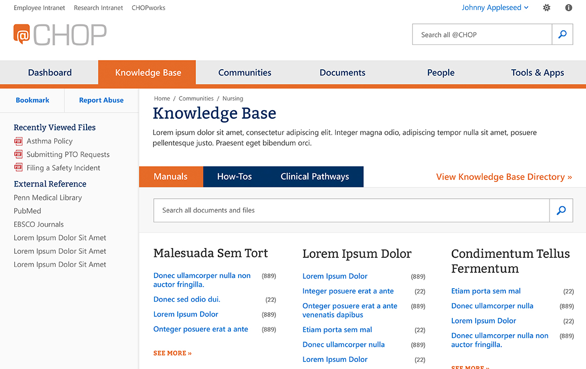 Knowledge base landing page