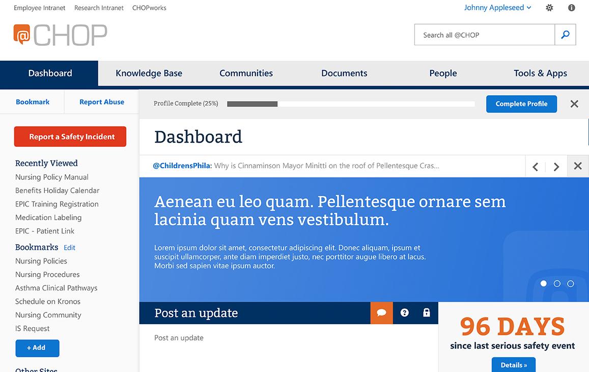 Mockup of a user's dashboard