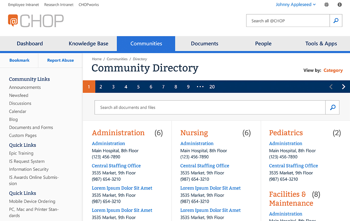 Mockup showing a searchable community directory