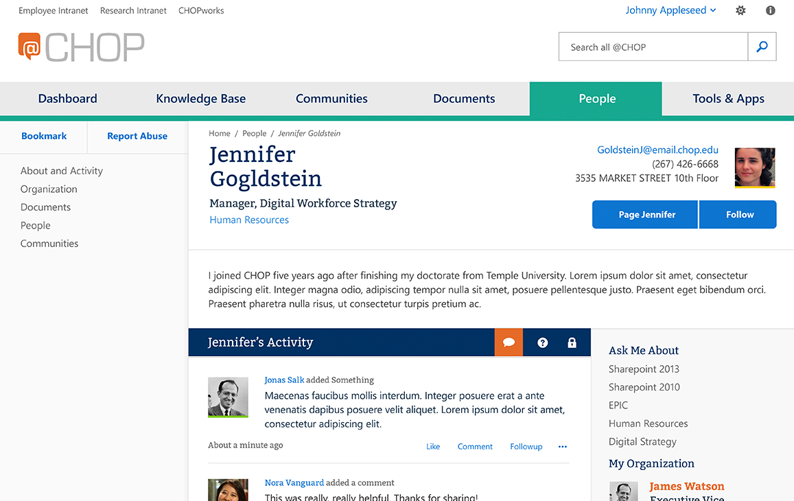 Mockup showing a profile page of a hospital employee