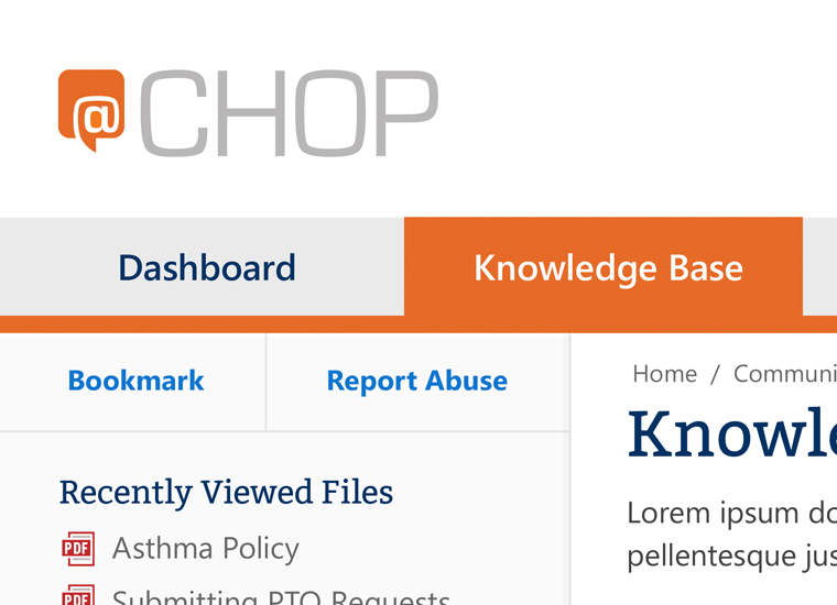 screenshot of childrens hospital intranet knowledge base