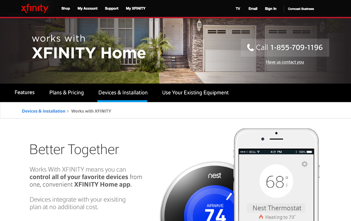 "Xfinity home webpage with ""Devices & Installation"" selected"