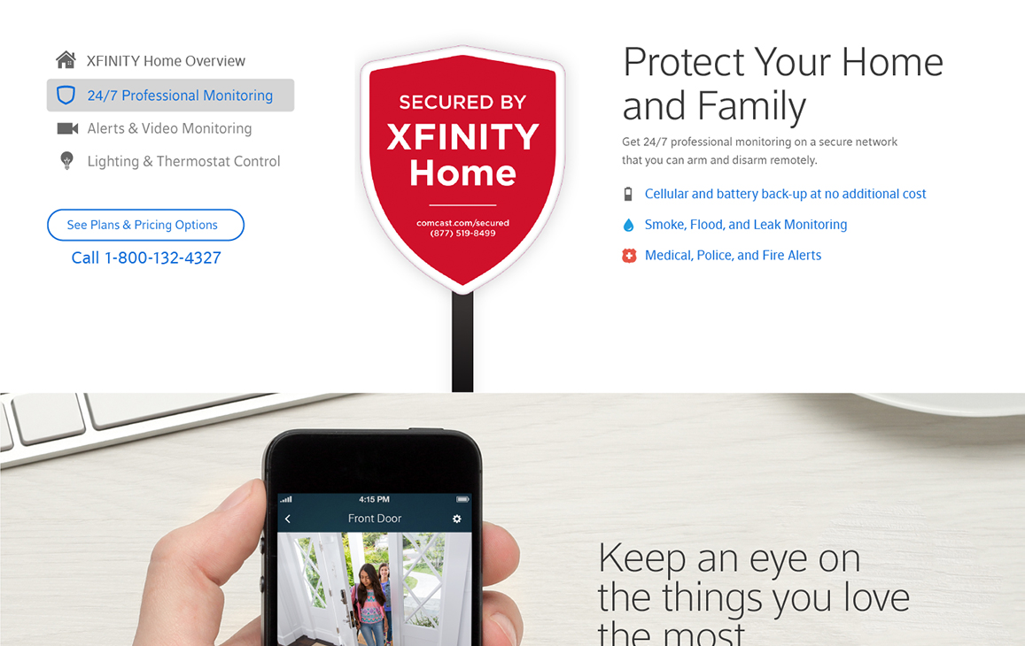 Xfinity webpage displaying a call to action for home security offerings