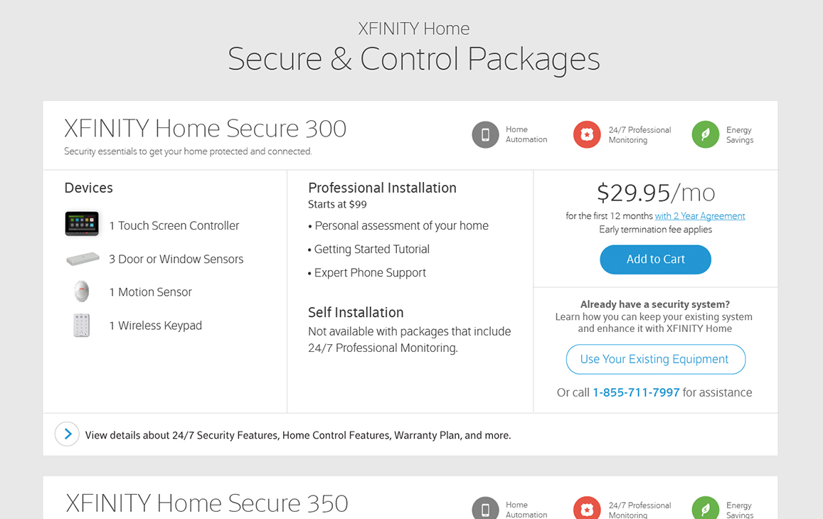 Xfinity webpage displaying product packages for home security