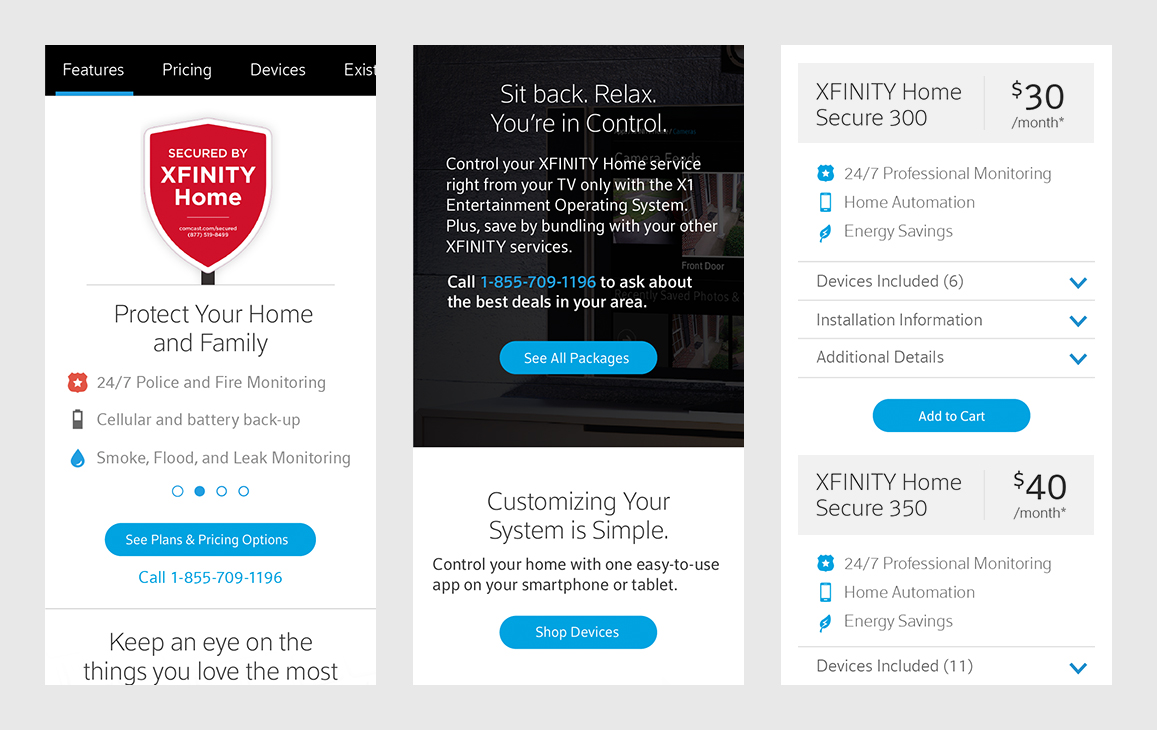 Three mobile states of the Xfinity website