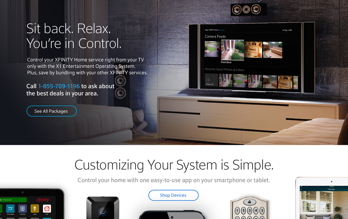 Xfinity webpage displaying a call to action for a T.V. controlled operating system