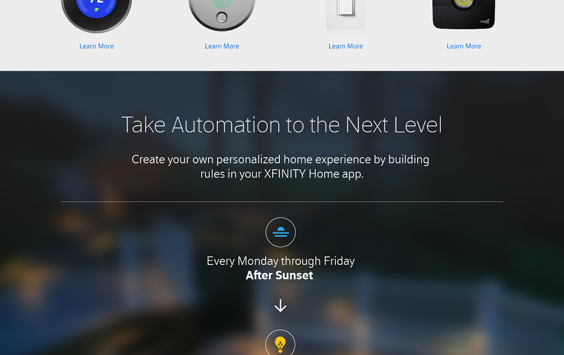 Xfinity module featuring customizable automation through the home application