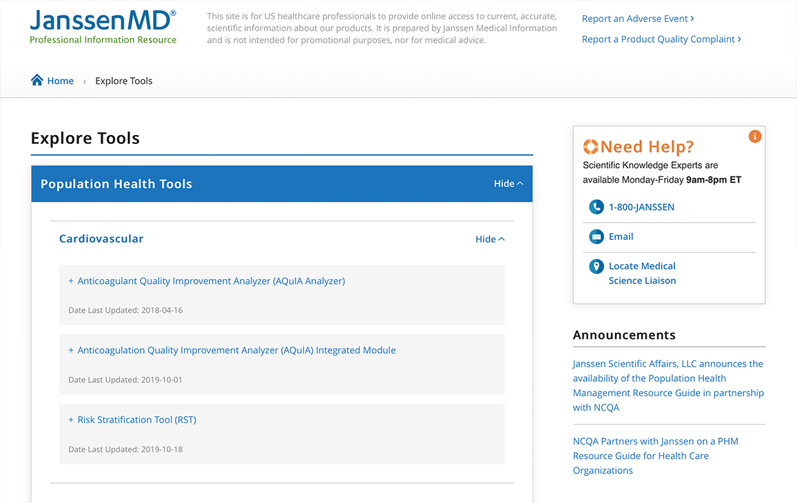 Image showing the 'Explore Tools' section of JanssenMD's website.