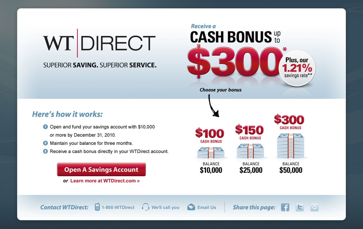Marketing advertisement for opening a WT Direct Savings account