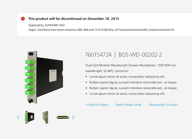screenshot of online technology product catalog