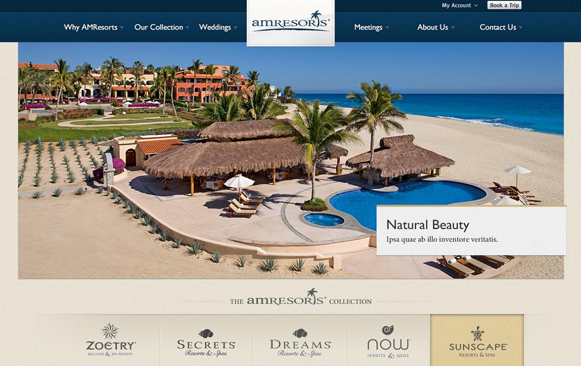 Homepage of a resort website