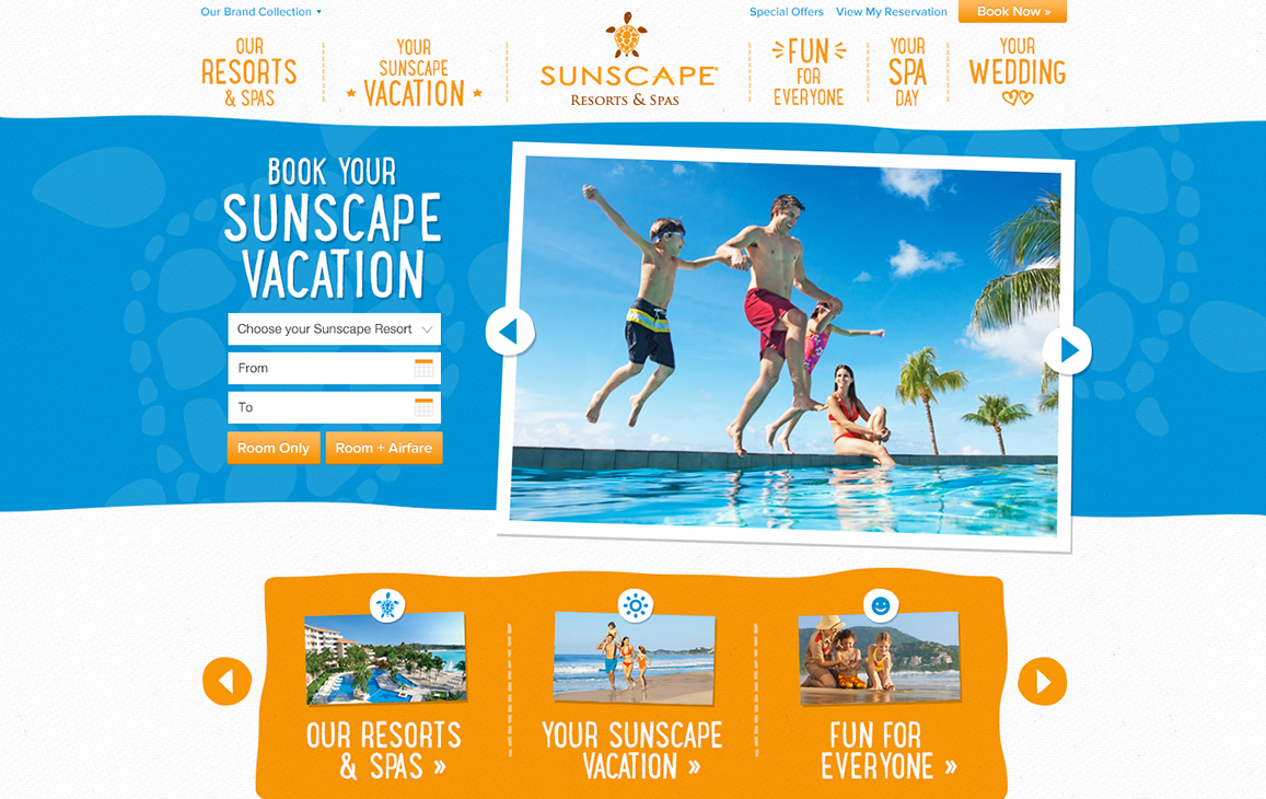 Landing page for Sunscape Resorts and Spas