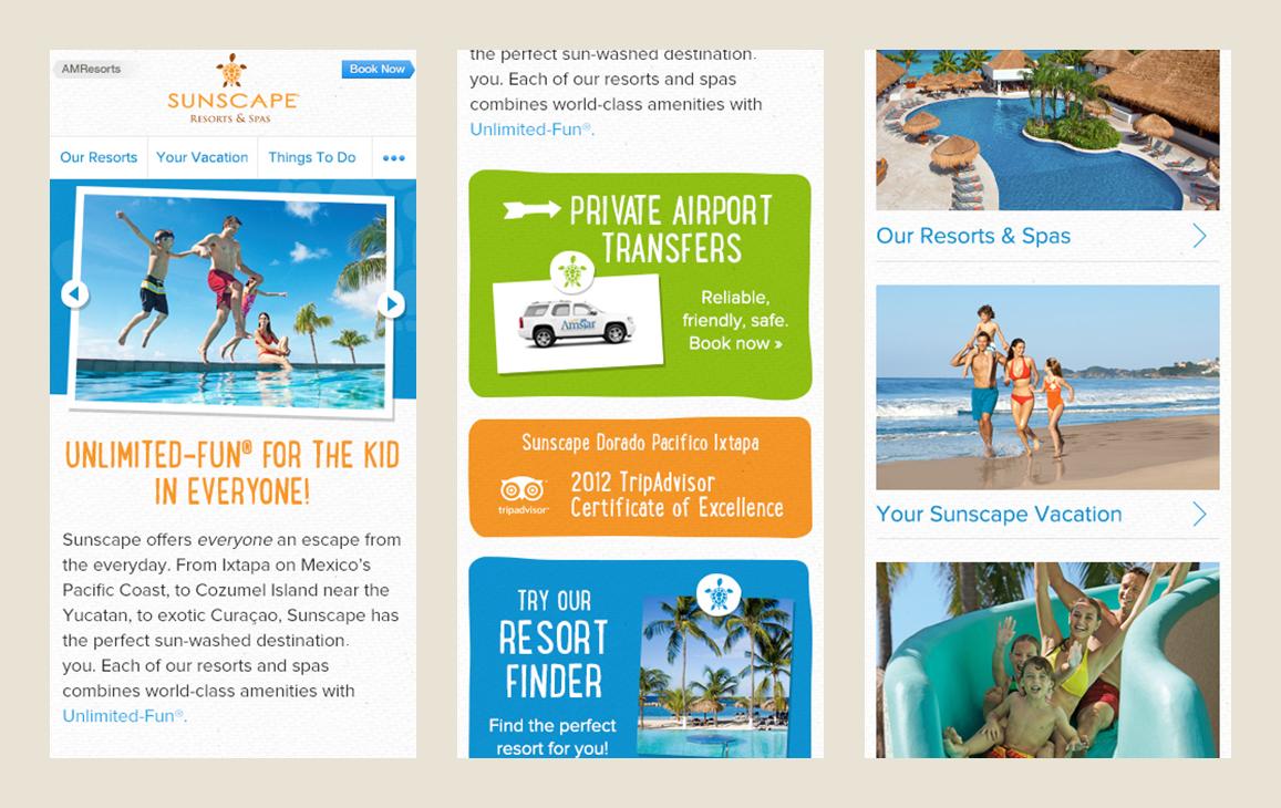 Landing page mockups for mobile