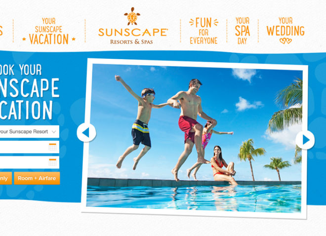 screenshot of travel company web page with family