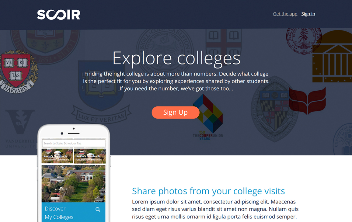 Scoir webpage call to action to sign up and explore colleges