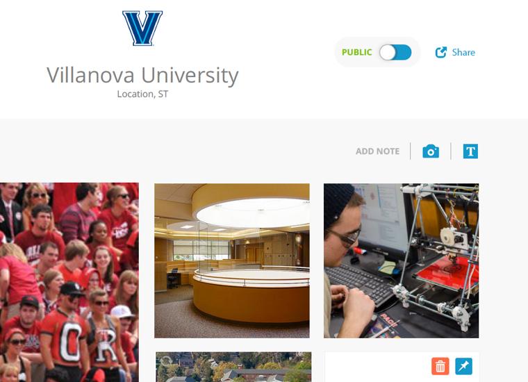 screenshot of university and student matching application