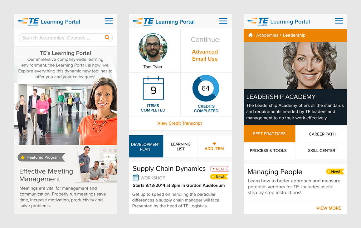 Mobile layouts for the landing pages