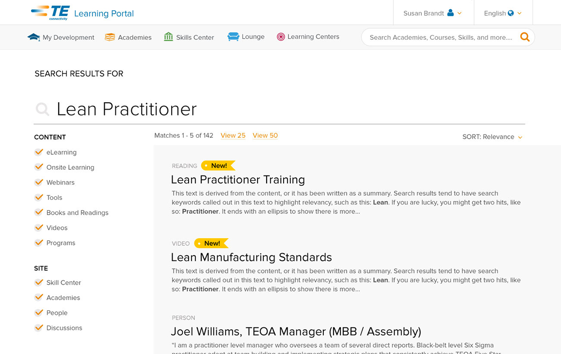 """Learning Portal, Search Results for """"Lean Practitioner"""""""
