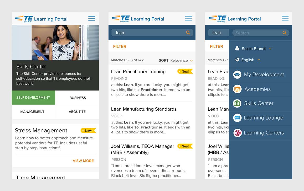 Mobile layouts for the skills center, search results and side navigation
