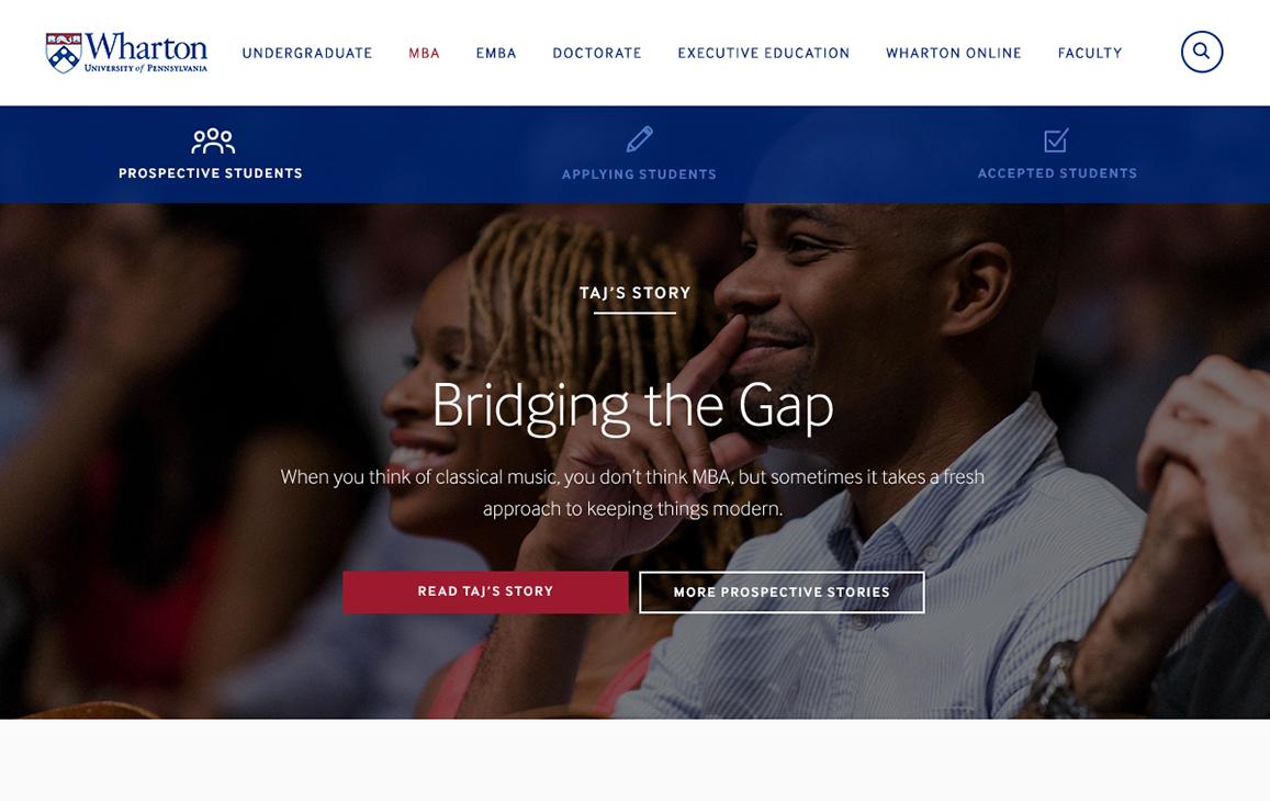 Landing Page, Wharton MBA Program