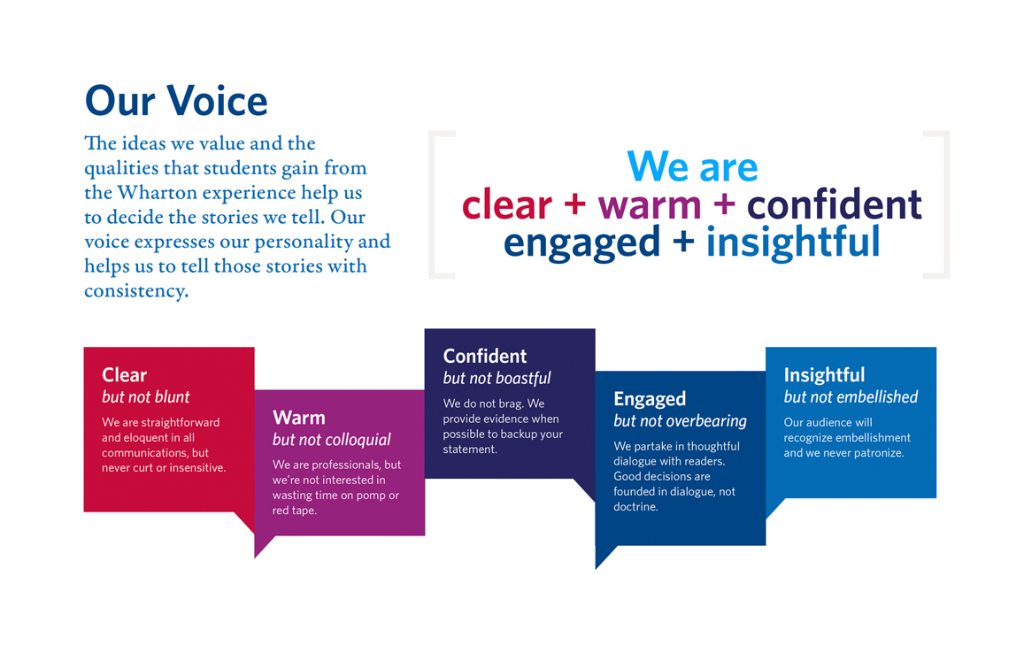 Our Voice : Clear + Warm + Confident + Engaged + Insightful