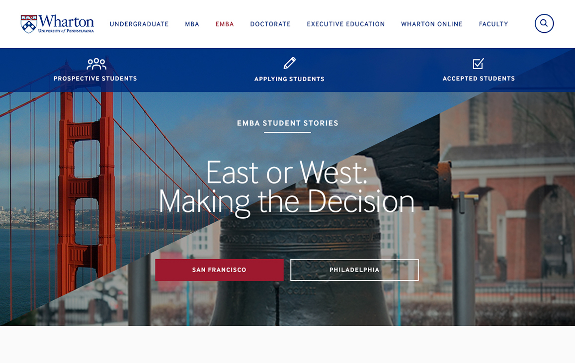 Landing Page, Wharton EMBA Program