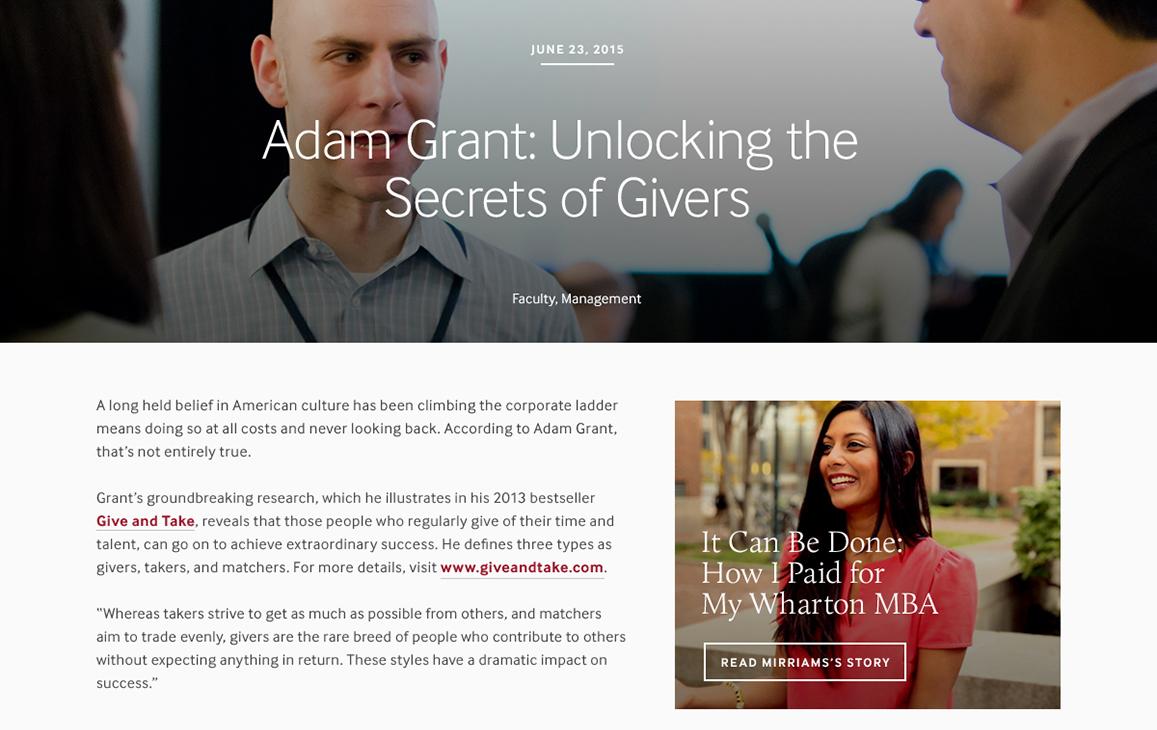 Blog post : Adam Grant : Unlocking the Secrets of Givers