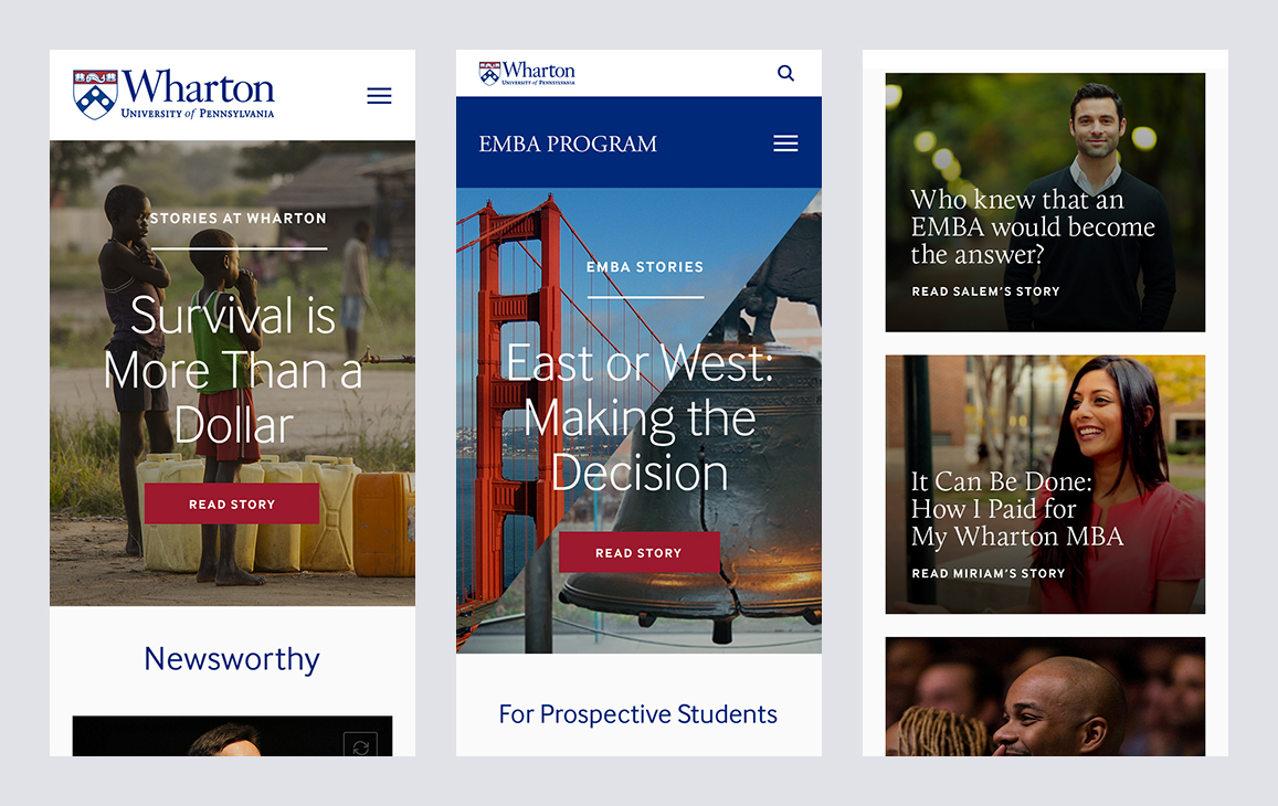 Mobile layouts for the Wharton website