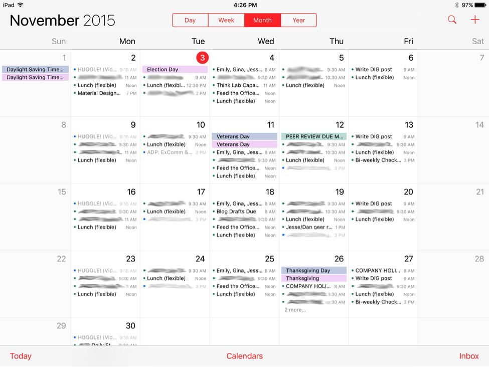Apple calendar month view