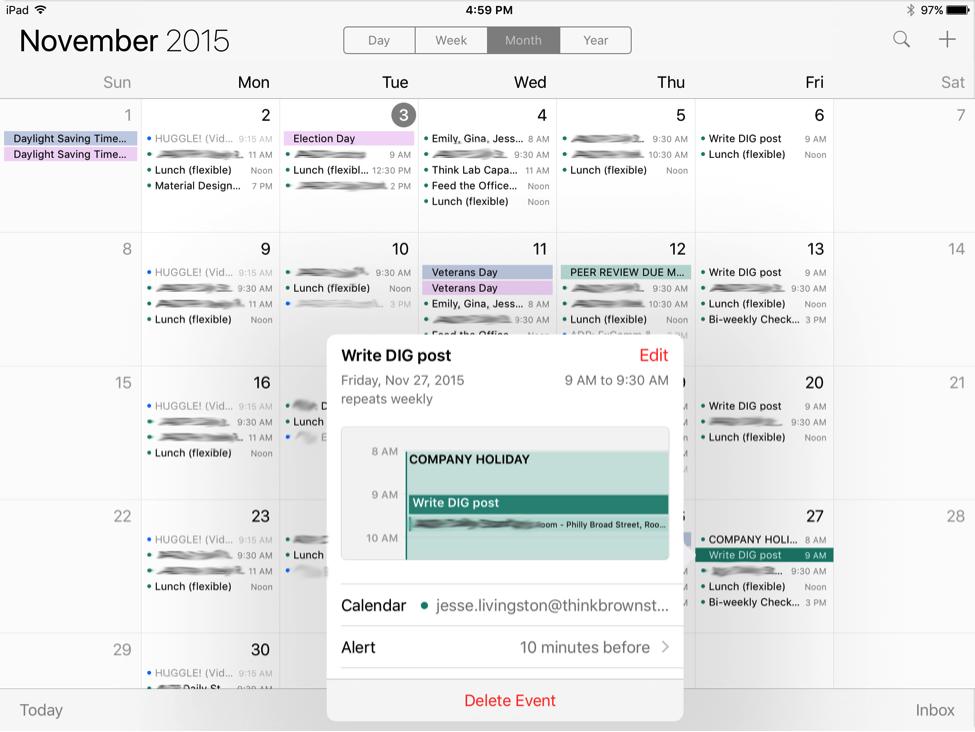 Apple calendar event view