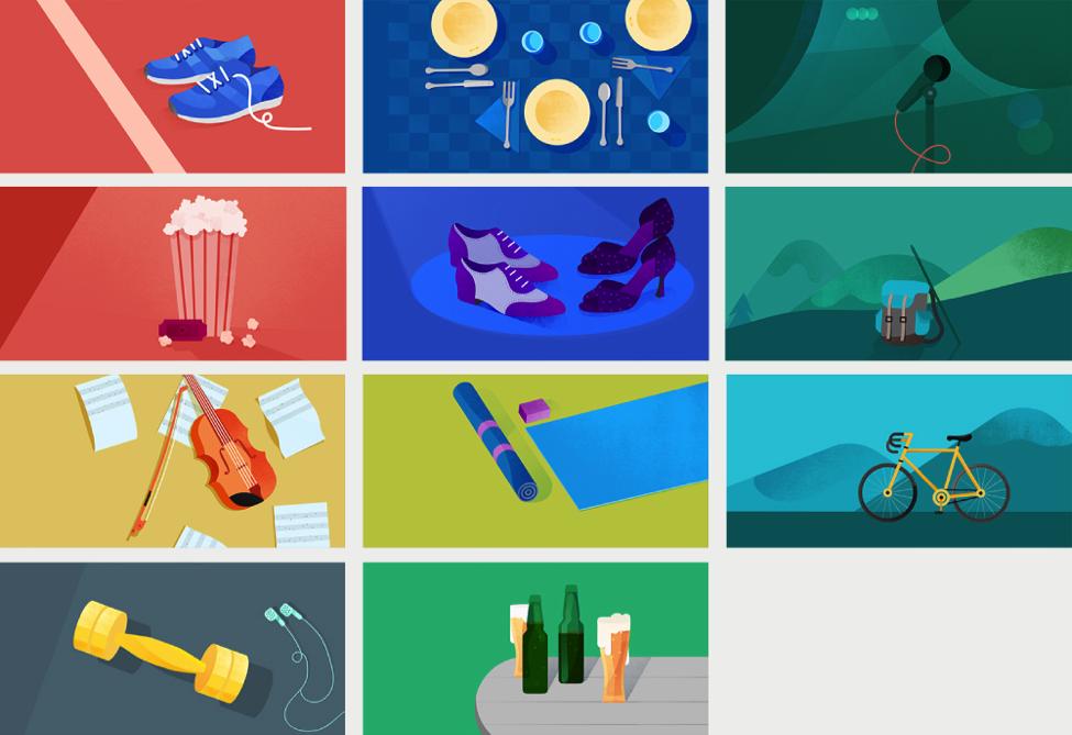 Grid of Google Calendar illustrations