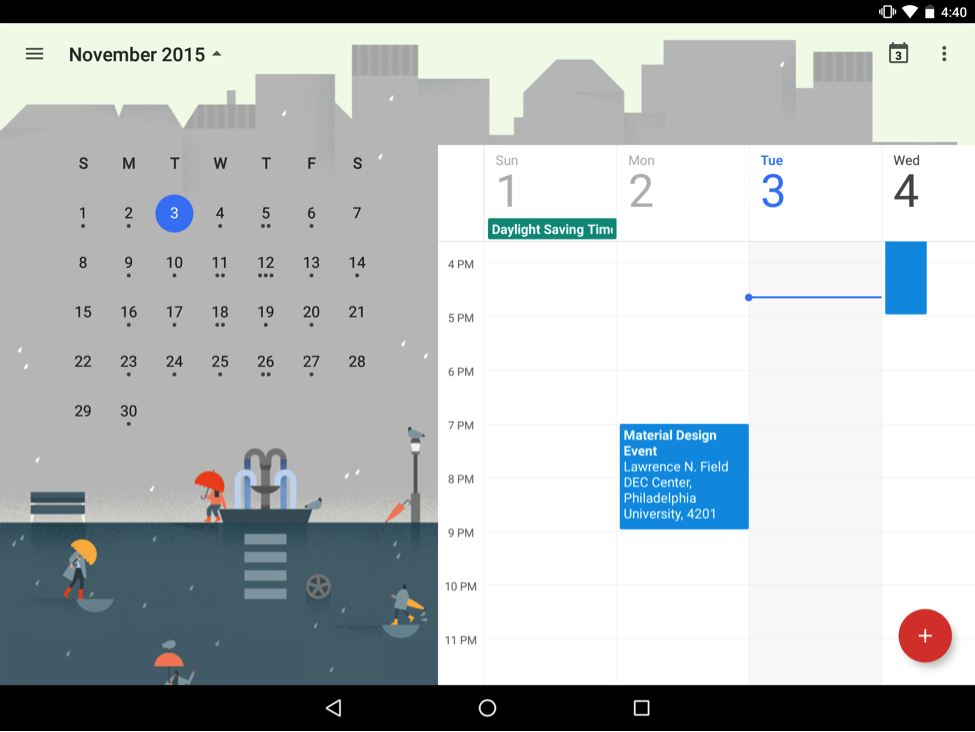 Google calendar illustration month view for November with cartoon people carrying umbrellas in the rain
