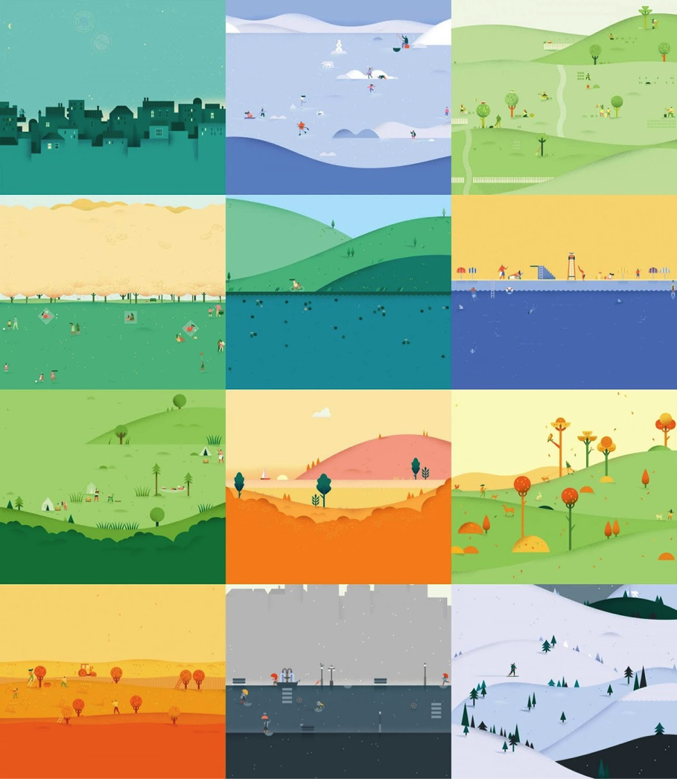 Grid of 12 month view illustrations for Google Calendar: January with night skyline, February with snow scene, March with village and green trees, April with white flowering tres, May with lake and grass, June with a sea-side scene, July with a green farm scene, August with a sunset scene, September with a park scene, October with orange trees scene, November with umbrellas and rain, and December with snowy village.